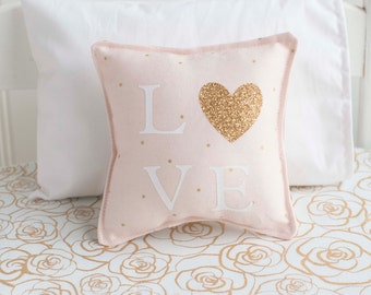 Doll Pillow, Blush Pink and Gold, Heart pillow, Love pillow, Hello, Lace pillow,