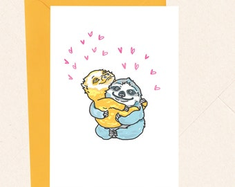 Cute Sloth Card, Sloth Love Card, Anniversary Card, Thank You Card, Hug Card, Card for Friend, For Boyfriend, For Girlfriend
