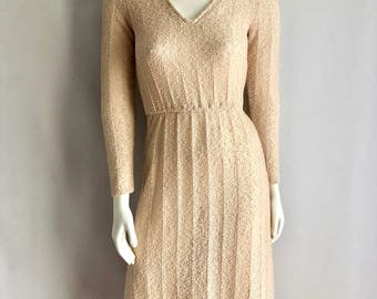 Vintage Women's 70's Boho, Cream, Knit Dress, Short Sleeve by Zizi (S)