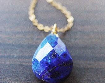 Navy Lapis Gold Necklace