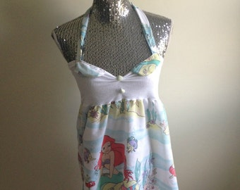 Vintage Little Mermaid Ariel Disney Halter Strap Retro Disneyland Birthday Party Shell Dress