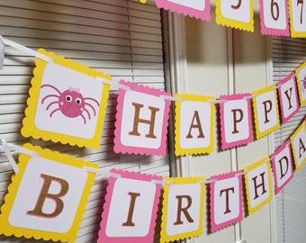 Itsy Bitsy Spider birthday banner, Itsy Bitsy Spider centerpiece, Itsy Bitsy Spider birthday, Itsy Bitsy spider baby shower
