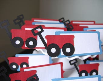 Little Red Wagon Place Cards, Food Labels, Wagon Birthday, Red Wagon Party, Red Wagon Food Labels, 12 PCS, You Pick The Colors