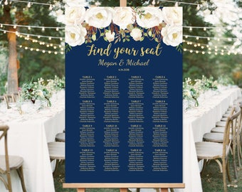 Wedding Seating Chart Template, Boho Chic Floral Wedding Table Plan, Navy Seating Board, Seating Plan, #A057, INSTANT DOWNLOAD, Editable PDF