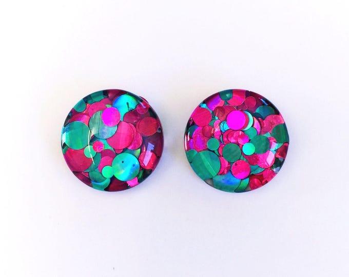 The 'Watermelon Burst' Glass Glitter Earring Studs