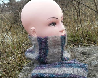 Knitted scarf and gloves SET Warm winter infinity scarf and fingerless hand Neck warmer Hand warmers Cowl neck Mittens Womens gifts Gray