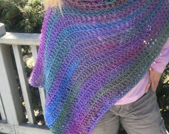 Colorful 5 Way Poncho with Cowl Turtleneck Hood, Blue, Pink, Green, Fuschia, Purple