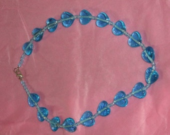 Blue Hearts Necklace glassbeads