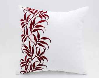 Red leaf Decorative Pillow Cover, White Linen Red Leaf Embroidery, Holiday throw pillow, Floral Pillow Case, Christmas Pillow, Holiday Decor