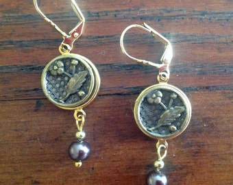 1800s Floral Picture Button Earrings