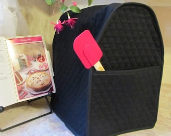 Black Stand Mixer Cover with a Pocket Quilted Kitchen Small Appliance Home Decor Made to Order