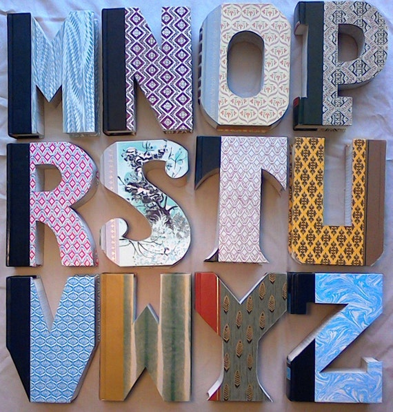 Book letters j 340 ady made book book cut letters like this item spiritdancerdesigns Gallery