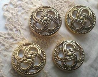 8 Pieces Unique 36 mm Gold Plastic Shank Buttons with  Raised 3D Open Details