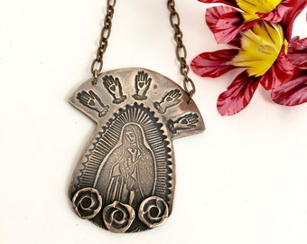 One of a Kind Goddess Necklace, Our Lady of Guadalupe Statement Piece