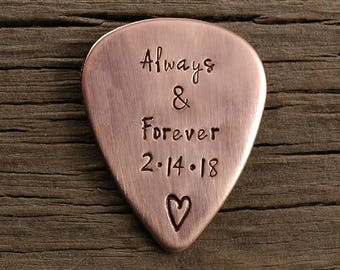 Guitar Pick - Copper, Personalized - Custom words or phrase - lyrics  - Hand Stamped, Always & Forever