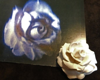 White Rose Polymer Clay Handmade Rose Inspired by Catherine's Gift to Vincent in 1980s TV show Beauty and the Beast