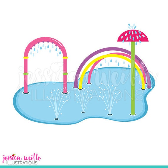 pink splash pad clip art cute digital clipart water park rh etsy com Water Park Slides Clip Art Water Park Slides Clip Art