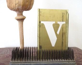 """1 vintage brass V stencil, letter V, capital V, 3 inch stencil, 3 """" stencil V. old stencil, metal stencil, old, rustic, primitive, antique"""