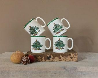 Vintage Spode Christmas Mug Set / Vintage Coffee Mug Set / Coffee Cup Set / Christmas Mugs / Vintage Coffee Cups / Set of 4 Christmas Mugs