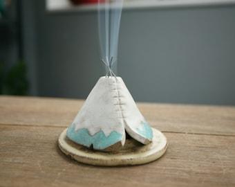 Incense Burner TeePee that smokes, Ceramic Aqua White Rustic Design, Stoneware Clay Pottery, Unique Yogi Gift, Meditation Altar