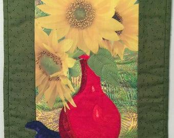 Fiber Art Quilt Wall Hanging-Still Life with Morning Glory Sunflower