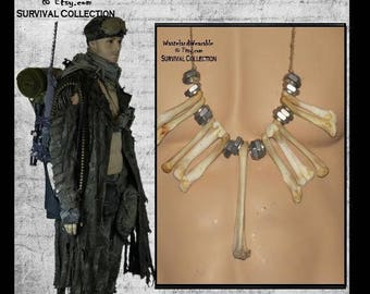 BONE NECKLACE Post APOCALYPTIC Necklace Mad Max Necklace Fallout Necklace