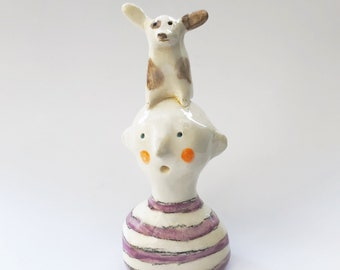 small figurine with spirit animal -- animal totems with owners -- small ceramic sculptures -- made to order
