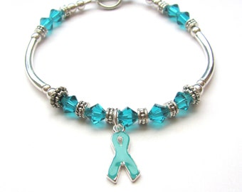 Teal Ovarian Cancer Awareness Charm Bracelet: Anti-Bullying, PTSD, Cervical Cancer, Myasthenia Gravis, Anxiety, Cervical Cancer, Batten,