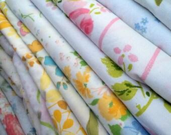 Vintage Sheet / Bed Linens Fat Quarters. Surprise Bundle. 4 Pack.