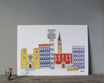 Lisbon Print A4 - Lisbon Illustration - Lisbon Cityscape - Lisbon Landmarks - Lisbon Wedding Gift - Lisbon Skyline