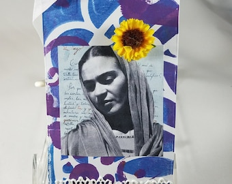 Frida Kahlo, Letter to Diego Rivera, Mixed Media Tag, Altered Frida Tag, Gift Tag, Thank You Tag, , Sunflower, Journal Tag, Birthday Tag