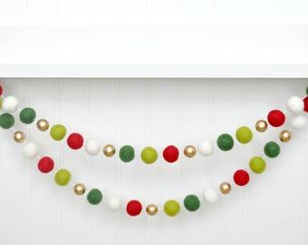 Christmas Garland, Christmas Banner, Christmas Decor, Red and Green Holiday Decor, Xmas Decorations, Christmas Tree Decoration, Winter Decor