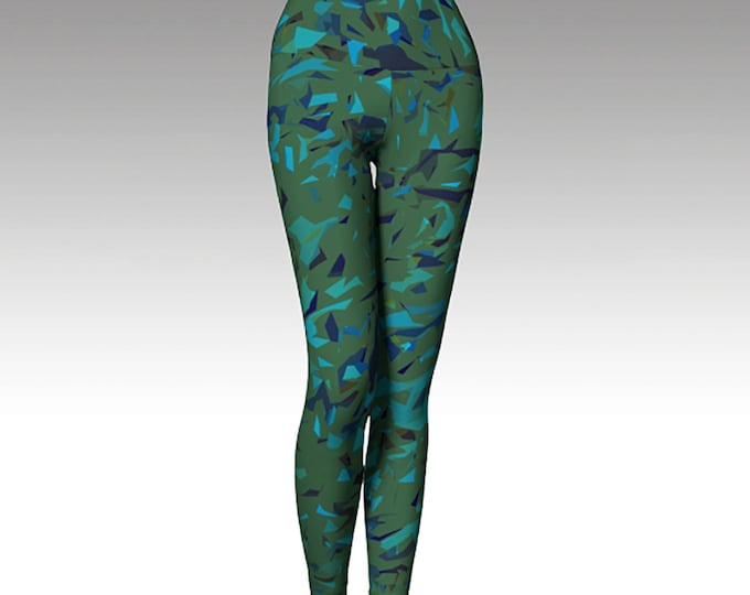 Green Blue Confetti Leggings, Yoga Leggings, Yoga Pants, Printed Leggings, Women's Leggings, Leggings,  Gift for her