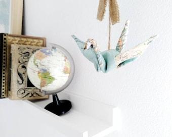 Móvil origami, móvil grullas origami, móvil grullas de tela, móvil para niños, móvil de cuna, móvil mapa mundi, móvil decorativo, mapa mundi