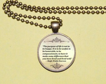 QUOTE Pendant Necklace Ralph Waldo Emerson  - Literary Jewelry. Inspirational Quote jewelry