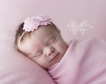 Pink baby headband, newborn headband, infant headband, photo prop, pink shabby flower headband