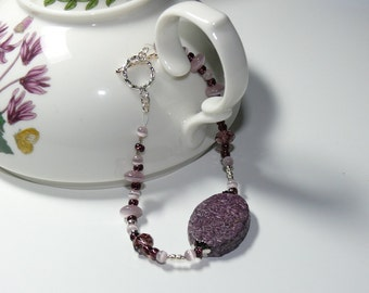 Purple Pressed Straw  & Lilac Cats Eye Beaded Handmade Bracelet with Sterling Silver Toggle