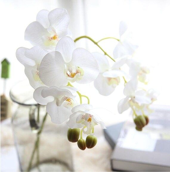 White orchid artificial flowers silk latex orchid wedding like this item mightylinksfo Image collections