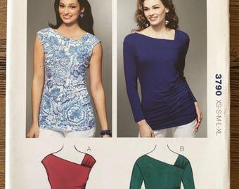 UNCUT Misses' Knit Top, Shirt Blouse Kwik Sew 3790 Size XS-XL Long Sleeve, Stretch