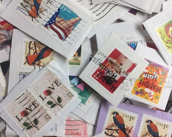 500 Canceled Postage Stamps for Paper Crafting