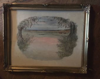 Antique/Vintage Signed K.Laurence 1985 Watercolour Painting Of Lakeside scene in Gilt Wood Frame