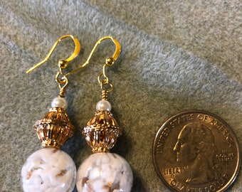 Dangle Earrings Gold and White glass with Faux Pearl