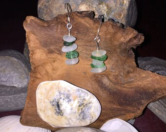 Sea glass 925 silver earrings