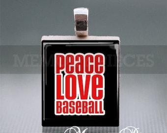 Peace Love Baseball Scrabble Tile Pendant with Silver Ball Chain