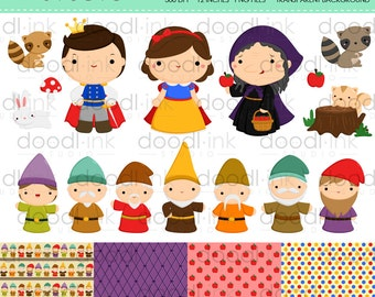 SALE 50%!!! Cute forest Princess and 7 Dwarfs Digital Clipart / Apple Poison Clip Art / Digital Paper For Personal Use / INSTANT DOWNLOAD