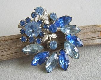 Vintage Brooch, Sapphire Brooch, Aquamarine Brooch, Blue Rhinestones, Blue Brooch, Large Brooch, Mid Century, September, March, Birthstone