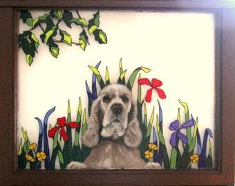 Cocker Spaniel, Hand Painted Dog Window, Pet Loss Memorial, Pet Portrait Painting, Vintage Window, Painted Glass, Wall Art, Dog Rememberance