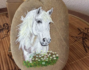 Painted Pebble 'white horse' acrylic painting