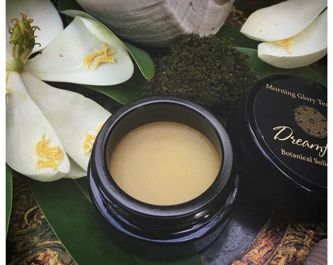 Dreamflower Botanical Solid Cream Perfume ~  a beautiful Vanilla Amber fragrance with exotic Champaca flowers, juicy Citrus & Sandalwood