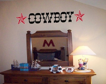 Ride'm Cowboy or Cowgirl Wall Decal with Stars